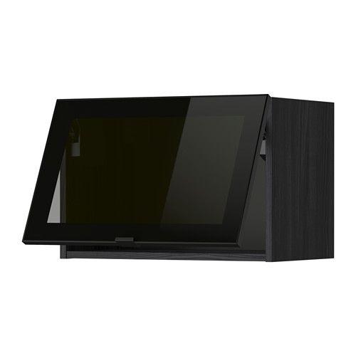 METOD Faliszekrény+üvegajtó - fa hat. fekete, Jutis fújt üveg/fekete, 60x40 cm - IKEA