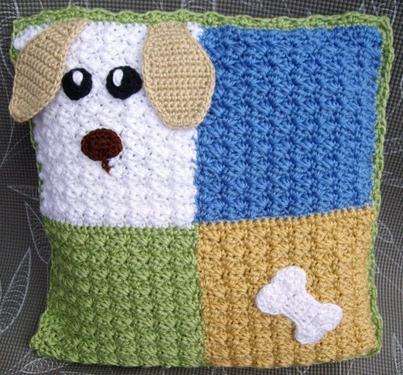Items similar to 15 x 15″ Pillow cover hand-crocheted dog & bone for children on…