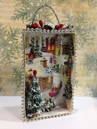 DIY Christmas Shadow Box from old Christmas Cards. DIY Christmas Ornament