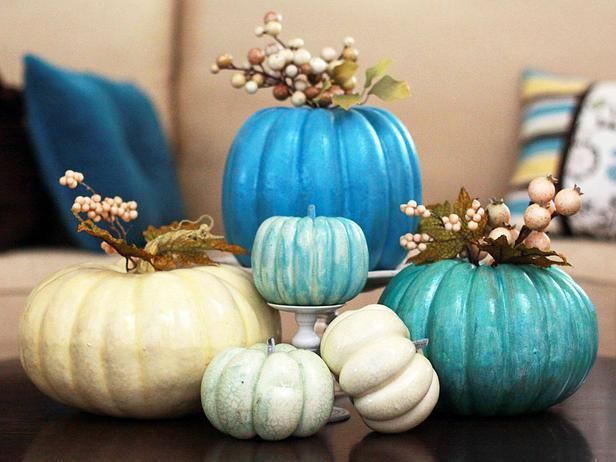 Unexpected colors and textures give this centerpiece a fresh look for fall.: