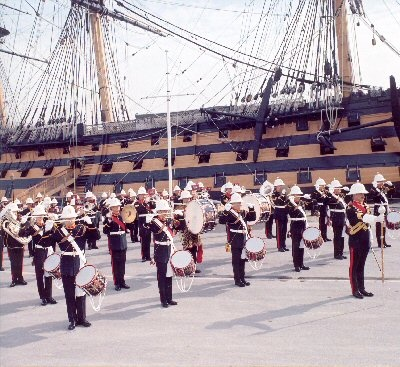Band of the Royal Marines alongside  HMS Victory.