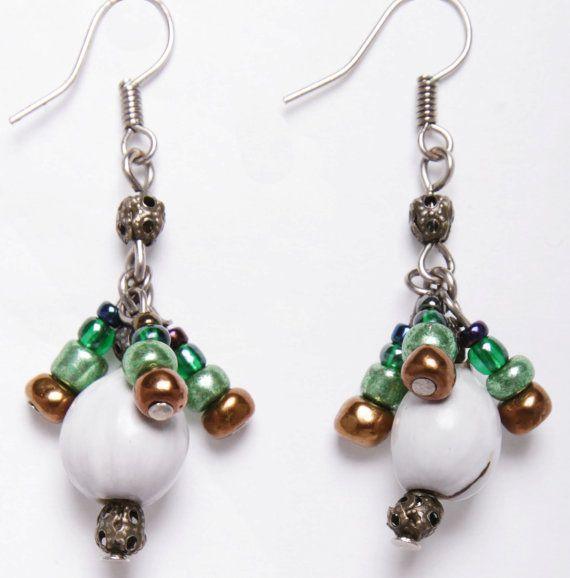 Zulu teething bead drop earrings by DriftwoodandMoss on Etsy
