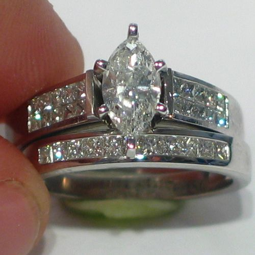 marquise diamond set on a 7mm band | 2ct Ladies Marquise Diamond Engagement Ring Wedding Band Bridal Set ...