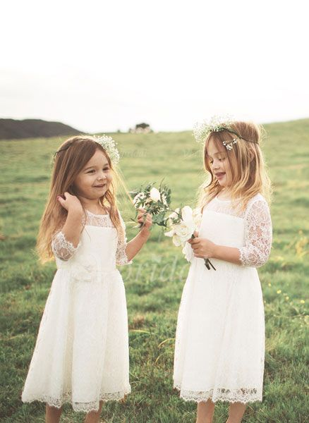 A-Line/Princess Scoop Neck Tea-Length Lace Sleeves 3/4 Sleeves No Ivory General White Flower Girl Dress