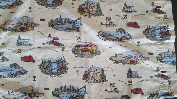 US Road Map 4 Pc Queen Size Sheets Travel State Attractions Cabin  Vtg #DanRiver #Lodge