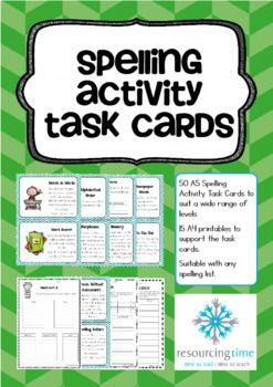 50 Spelling Task Cards + 15 Printables which can be used with any spelling list.