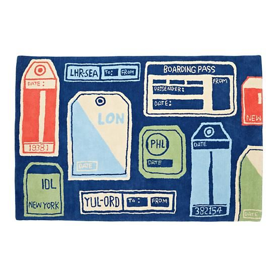 The Land of Nod | Kids' Rugs: Kids Blue Retro Airline Themed Rug in Patterned Rugs