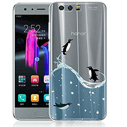 Honor 9 Case, ocketcase® TPU Soft Silicone Gel Back Cover Case Transparent Shockproof Protective Shell Bumper for Huawei Honor 9 (penguin) + Free Universal Screen Stylus