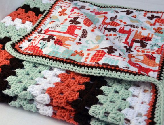 Sunset Safari crochet baby blanket granny square by ValkinThreads2, $68.00