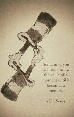 Sometimes you will never know the value of a moment until it becomes a memory.