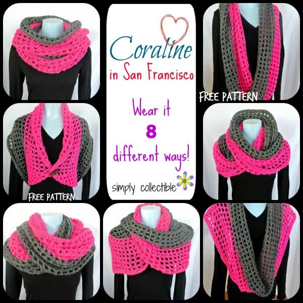 Coraline in San Francisco Cowl Wrap - Wear it 8 different ways - free cowl crochet pattern by Celina Lane, Simply Collectible uses @redheartyarns Reflective