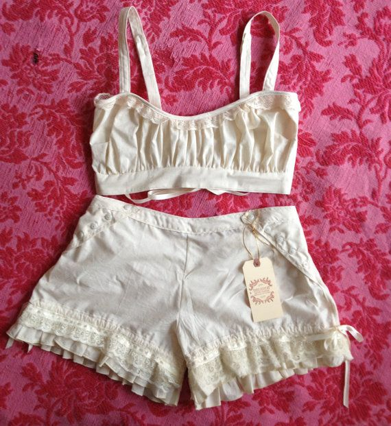 Organic cotton Bralette and  shorty Bloomer set with lace up back- custom to your size/ measurements bra underwear. $138.00, via Etsy.