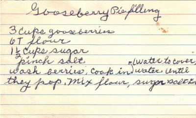 Gooseberry Pie Filling handwritten recipe card