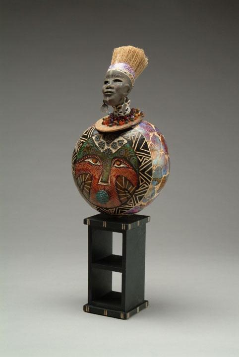 """Patricia C. Boyd, gourd art. """"Neffrititti""""."""