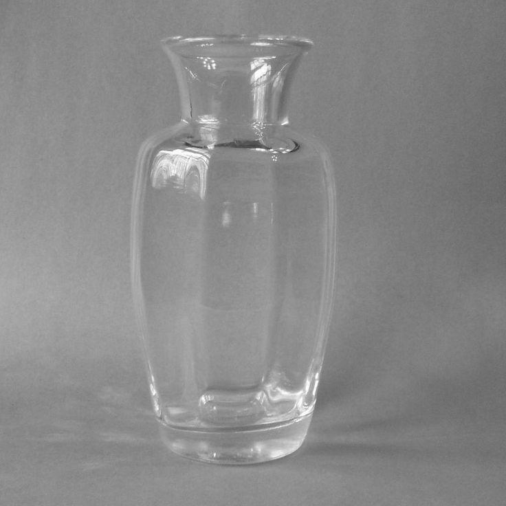 Simon Pearce Vermont Crystal Glass Flower Vase 8.5 Inch Optic - Shelburne
