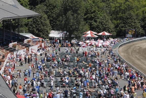 Monday's grandstand apron crowd at the Saratoga Race Course. (Erica Miller / The Saratogian)