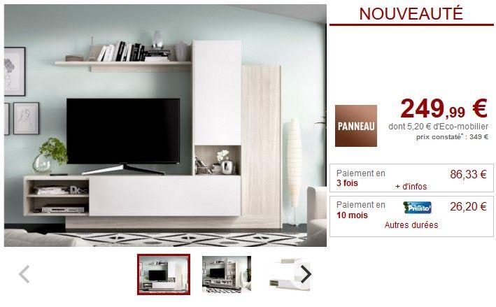 mur tv maritsa avec rangements pas cher