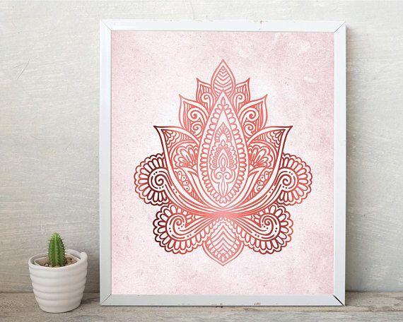 Printable Art Downloadable Print Lotus Pink rose gold Yoga
