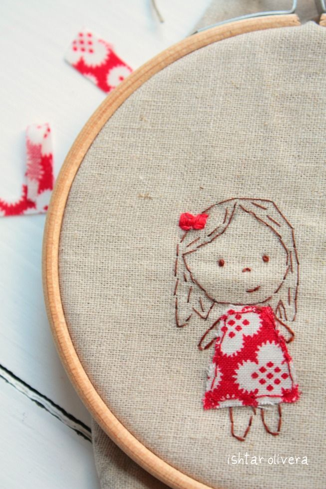 Una amiga muy especial Ishtar Olivera <3: I'm pinning this because this is another nice example of embroidery with fabric. Such a sweet little girl.