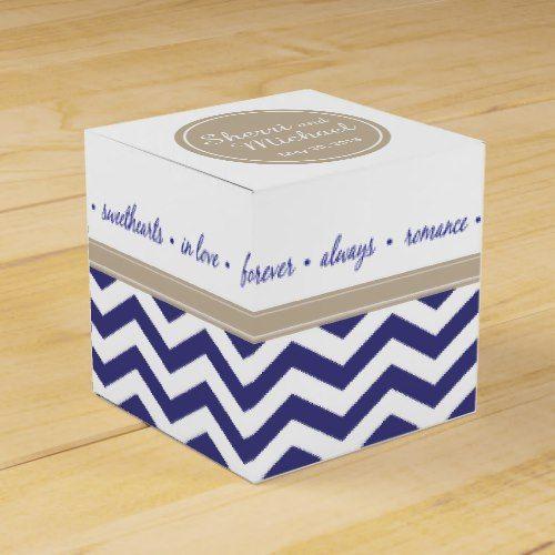 Chic Chevron Monogram | navy taupe white Favor Box