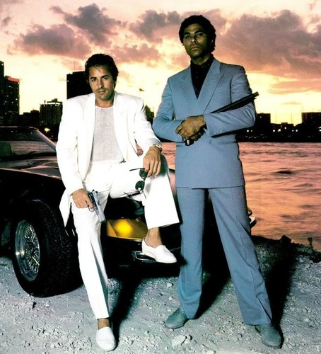 Miami Vice 1980s - Don Johnson and Philip Michael Thomas had men sporting pastels and loafers sans socks.