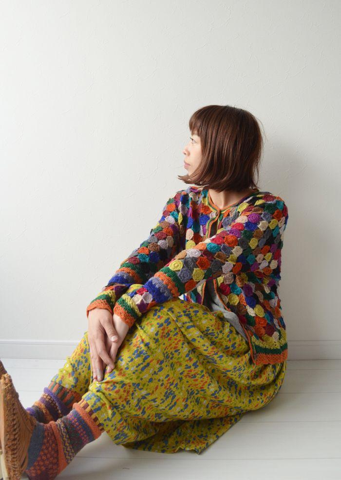 handmade クロシェカーディガン 手編みの暖かさを・・・