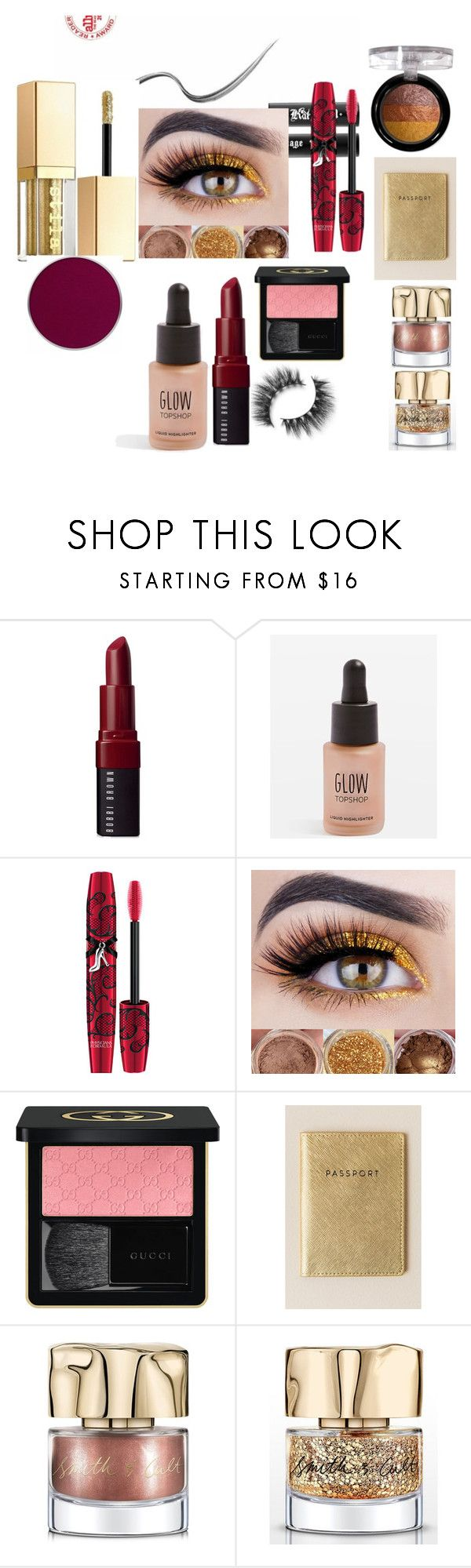 """""""Goldie Rocks"""" by mary-lee-lambert ❤ liked on Polyvore featuring beauty, Bobbi Brown Cosmetics, Topshop, Physicians Formula, Gucci, Francesca's, Smith & Cult and Forever 21"""