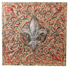 Vintage Red Ceiling Tin Wall Plaque