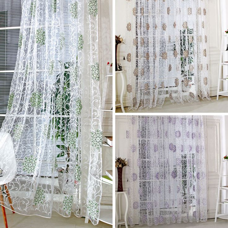 1*2M LUXURY VOILE NET CURTAIN FLORAL READY MADE VINTAGE TULLE DOOR WINDOW PANEL | eBay