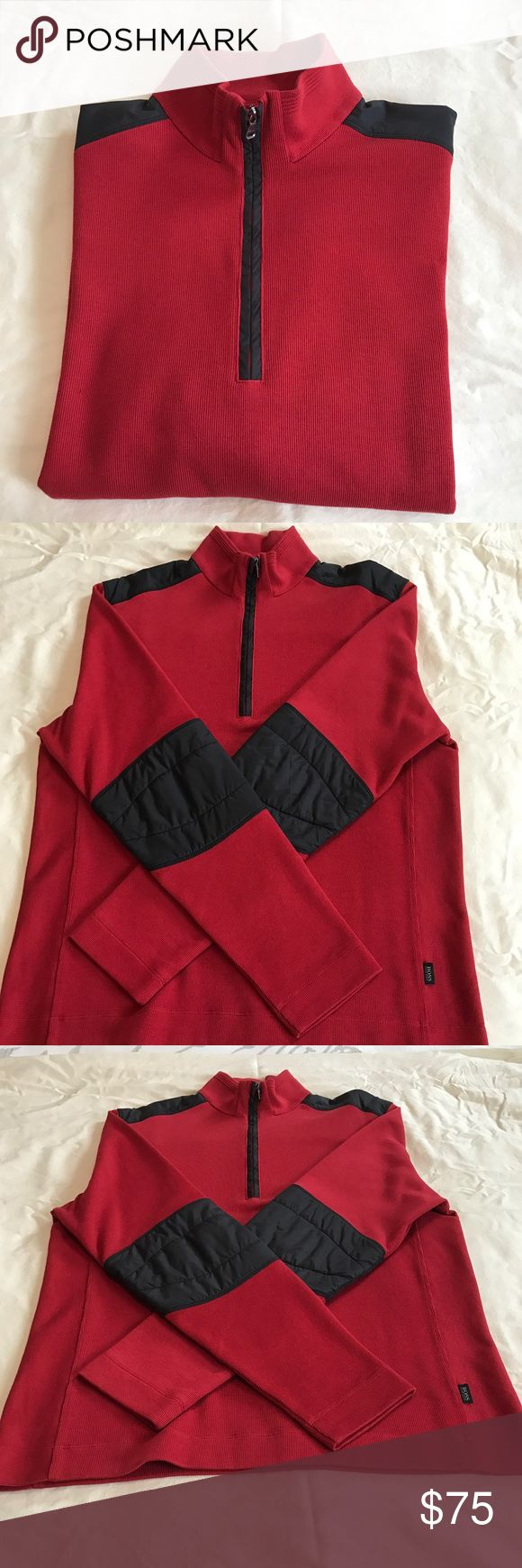 "Men's pullover Hugo Boss sweater Hugo Boss pullover sweater red with black accents 100% cotton 10"" front zipper worn several times it's beautiful Hugo Boss Sweaters V-Neck"