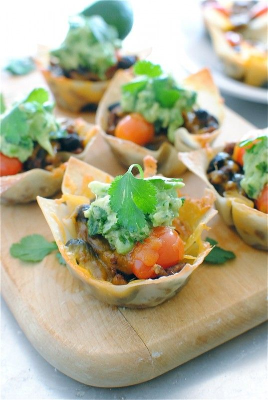 turkey taco cups.  Using the tostitos scoops could make great appetizers/party food !