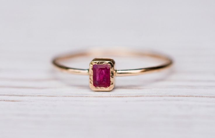 Ruby ring in 14k gold, gemstone ring, rectangular ruby ring, handmade by Arpelc by ARPELC on Etsy https://www.etsy.com/listing/239771087/ruby-ring-in-14k-gold-gemstone-ring