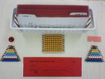 Montessori Addition Snake Game ~ Search for 10 Cards by Montessori Mac