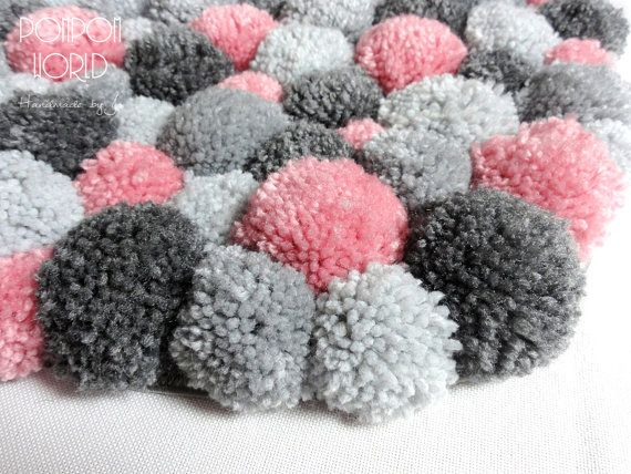 Bedroom Area Rug Pom Pom Rug Pink Gray Bedroom by PomPomMyWorld
