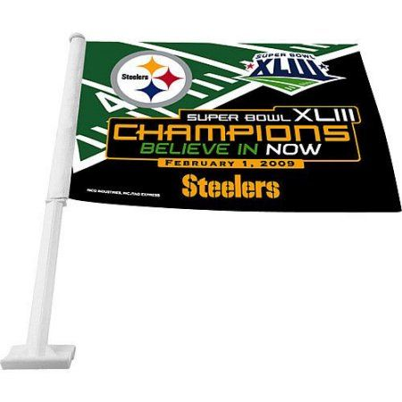Rico Super Bowl 43 Champions Steelers Car Flag, Multicolor