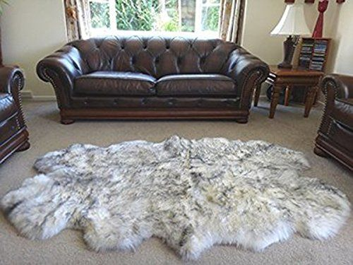 HUAHOO Genuine SheepSkin Rug Real Sheepskin Blanket Natural Fur (Sexto/6ft x 6ft, White/Gray)