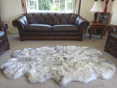 HUAHOO Genuine SheepSkin Rug Real Sheepskin Blanket Natural Fur (Sexto/6ft x 6ft, White/Gray)