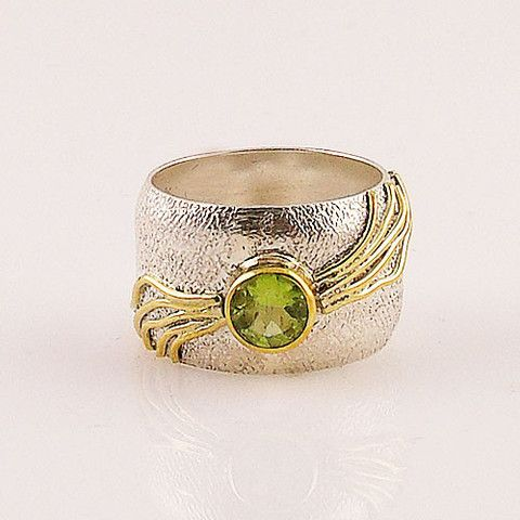 Peridot Sterling Silver Three Tone Stack Ring – Keja Designs Jewelry