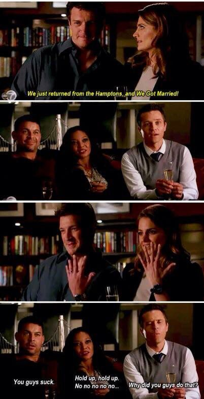 """""""You guys suck"""" - Javier, Lanie, Kevin, Rick and Kate #Castle"""