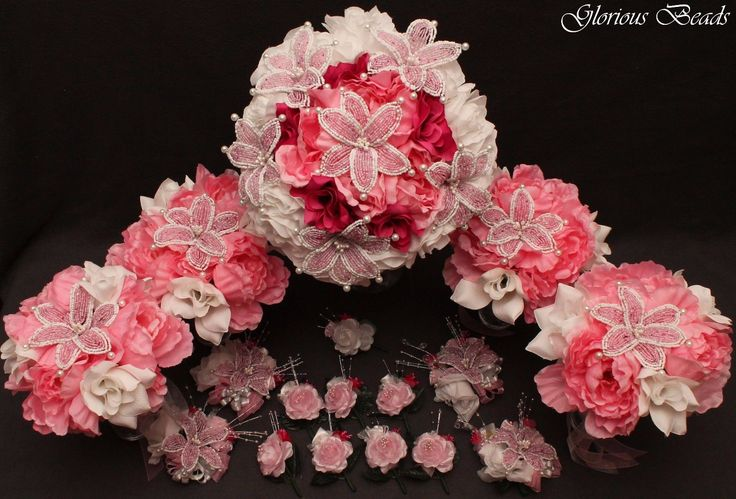 BEADED LILY Bridal Bouquet Wedding Flower 18 PC Set PINK & WHITE Beads & Peony | eBay
