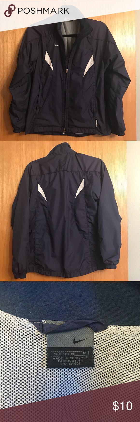Nike jacket medium 8-10 Dark blue Nike soccer wind jacket size 8-10. Nike Jackets & Coats