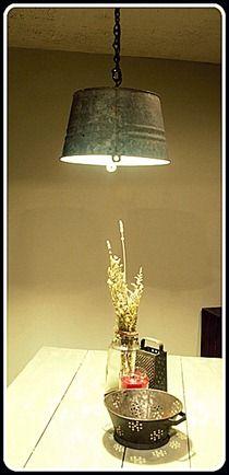 Galvanized Bucket Pendnt Light _ Harvest Moon - awesome upcycled lighting ideas