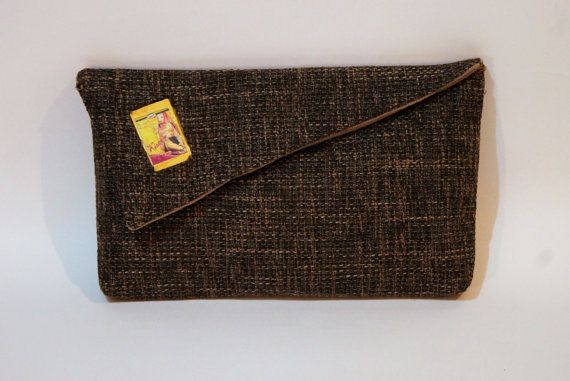 Brown clutch bag with Ronald Colman Joy Page and by meerrorart