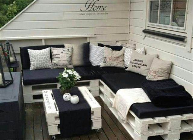 Wooden pallet garden furniture - Supplies: - Wooden pallets - Paint - Paint brush - Cushions - Mattress' - Sandpaper - Screwdriver - Screws - Cushions/Throws Directions: 1. Sand down all edges of the wooden pallets with the sandpaper. 2. Paint all over in desired colour and then wait to dry. 3. When dry, place the wooden pallets how you would like them to be set up. 4. Secure in place with screws. 5. Put the mattress' on top. 6. Decorate with cushions and throws of your choice.
