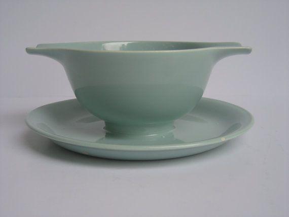 "Homer Laughlin ""Jubilee"" Celadon Green Gravy Sauce Bowl, Aqua, Mint, Turquoise Mid Century Modern Gravy Boat"