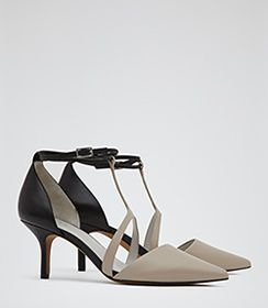 Womens Light Taupe Double Ankle Strap Court Shoes - Reiss Eden