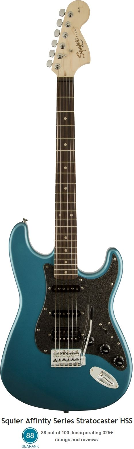 Squier Affinity Series Stratocaster HSS. This electric guitar  is the highest rated HSS strat under $200,