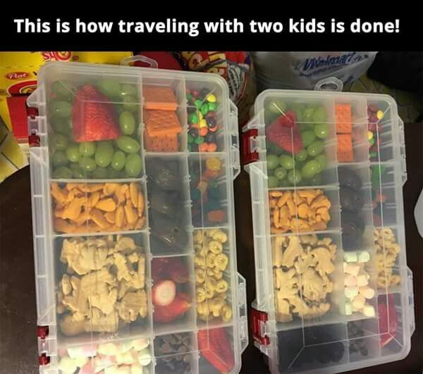 Traveling with kids healthy organized compartment snack food day road trip