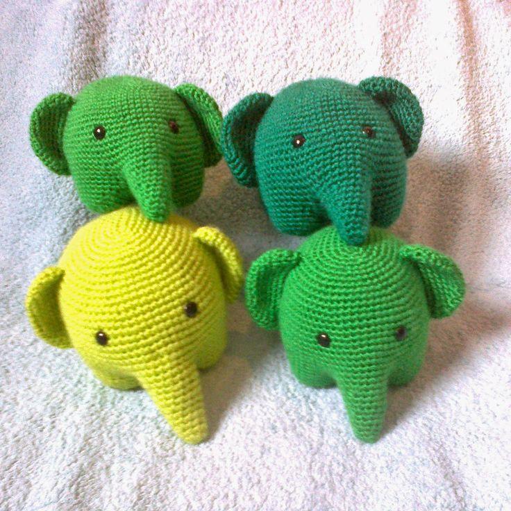 ElaMakrela Crochet: Cztery zielone słonie four green elephants amigurumi