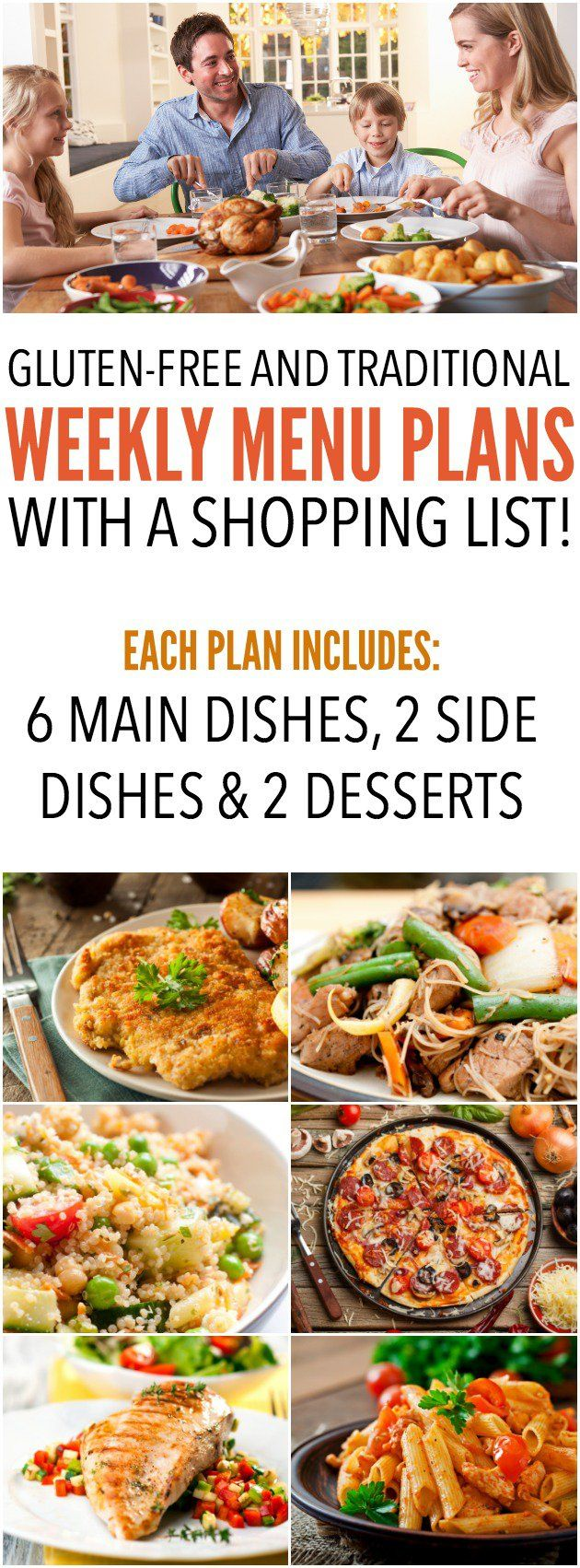 Gluten-Free and traditional weekly menu plans with a shopping list! This has been an absolute lifesaver! SixSistersMenuPlan.com